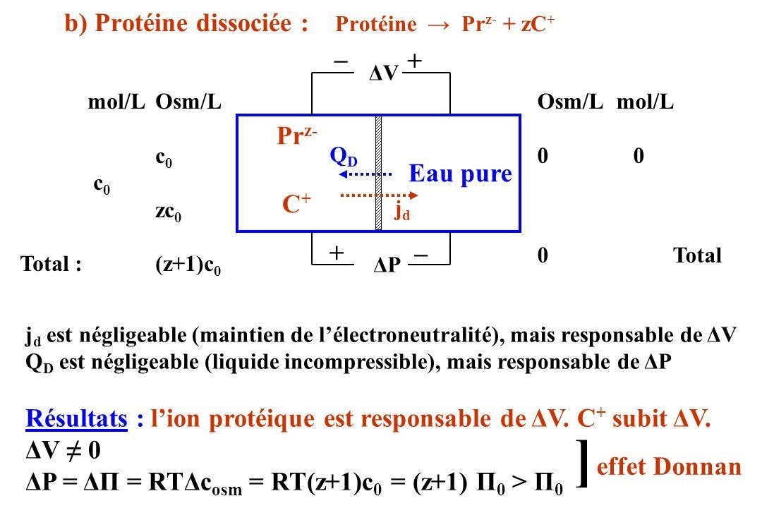 ] b) Protéine dissociée : Protéine → Prz- + zC+ _ + Prz- Eau pure C+ _